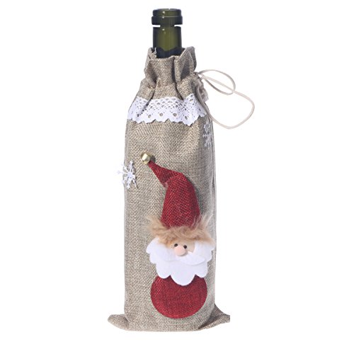 OULII Bouteille de vin de Noël Sacs de décoration Accueil Party Decoration Dinner Party Décor de table Cadeau de Noël (kaki)