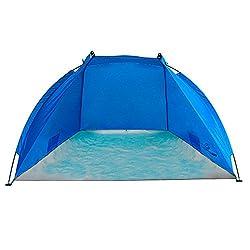 outdoorer Strandmuschel Helios, blau, UV 80, extra leicht, Minipackmaß