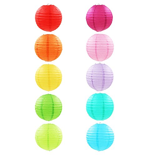 Papierlaterne, Donaki 10 Stück Papier Lampions Schöne Hochzeit Deko Papierlampe rund Papier Laterne Lampenschirm Garten Party Dekoration Ballform - Verschiedene Farben (12 Zoll )