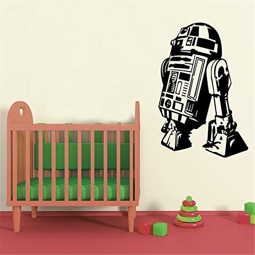Adesivo murale fiori sticker famoso film star wars robot r2 d2 per i bambini