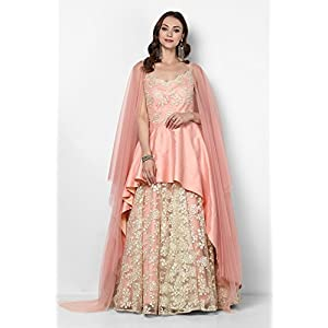 Pushp Paridhan Designer patch work Indo Westren Blush Pink Flared Gown