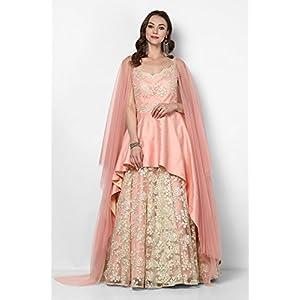 Pushp Paridhan Designer patch work Indo Westren Blush Pink Flared Gown