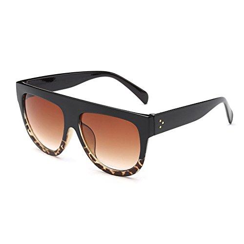 Dodo Shadow Shield Fliegersonnenbrille, flacher oberer Rand, sehr groß, Schwarz Leopard