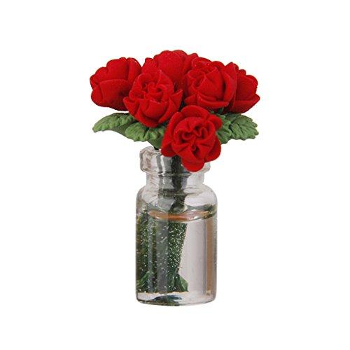 Gazechimp Ornment Meuble Bureau Dans Vase Miniatures Maison De Poupée Art Décor Rose Rouge