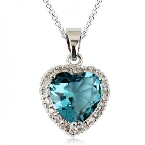 Oro bianco 18 k con cristalli Swarovski blu acquamarina, a forma di cuore Collana con ciondolo, zirconia
