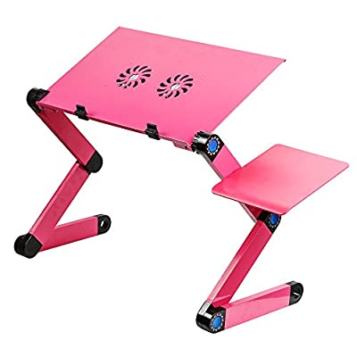 Ibepro® Portable Adjustable Aluminum Laptop Desk/stand/table Vented W/cpu Fans Mouse Pad Side Mount-notebook-macbook-light Weight Ergonomic Tv Bed Lap Tray Stand Up/sitting (Red)