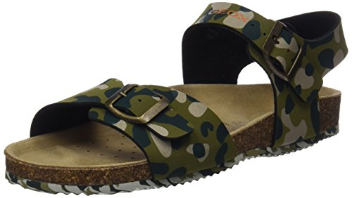 Geox j new storm b, sandali punta aperta bambino, verde (military), 37 eu