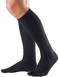 Knitido Essentials | Calcetines Clásicos en algodón (81%) por debajo de la rodilla, para hombre y mujer, negro, gris antracita y violeta, Size:UK 5.5-8;Colours:black 001