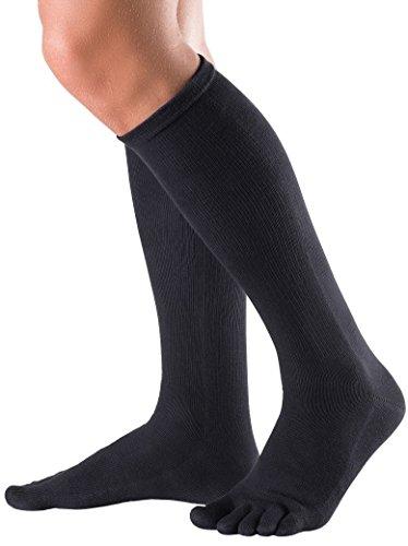 Knitido Essentials | Calzini lunghi e comodi in cotone, per uomo e donna (unisex), lunghezza ginocchio, nero, antracite e viola, Size:UK 9-11;Colours:black 001