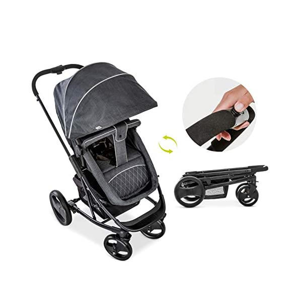 Hauck Pacific 4 Shop N Drive, Lightweight Pushchair Set with Group 0 Car Seat, Carrycot Convertible to Reversible Seat, Footmuff, Large Wheels, From Birth to 25 kg, Melange Charcoal Hauck  19