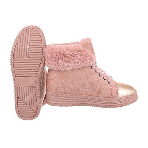 Sneakers Alte Sneakers Da Donna Alte Stringhe Calde Foderate Ital-design Scarpe Casual Rosa Antico 8302