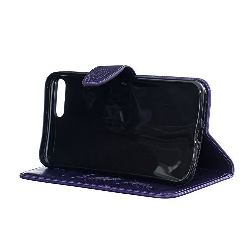 Aeeque® iPhone 7 Plus Bookstyle Étui Card Slot [Charmant Series] housse en Cuir Fermeture Magnétique Case à rabat pour iPhone 7 Plus (2016) Coque de protection Portefeuille TPU Case - Beau Marron Tote Campanula Violet