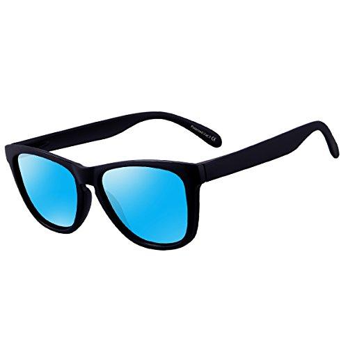 FEIDU Polarized Wayfarer Gafas de sol para hombre Classic Mirror Eyewear Unisex FD 0628 (Mate/Blue, 2.44)