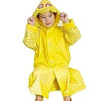 Highdas Children Enfant Yellow Raincoat Waterproof Poncho with Schoolbag Seat Owl Style 105-110cm