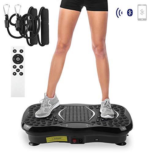 AGM Piastra Vibrante per Allenamento Intelligente Evoland Fitness, Altoparlante Bluetooth per Telecomando Senza Fili Salute Unisex Perdere Peso Mantenere Il Corpo in Forma [3 modalità / 21Lb] (Nero)