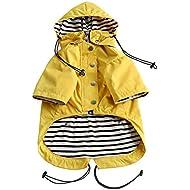 Morezi Dog Zip Up Dog Raincoat with Reflective Buttons, Rain/Water Resistant, Adjustable Drawstring, Removable Hood, Stylish Premium Dog Raincoats - Size XS to XXL Available - Yellow - M