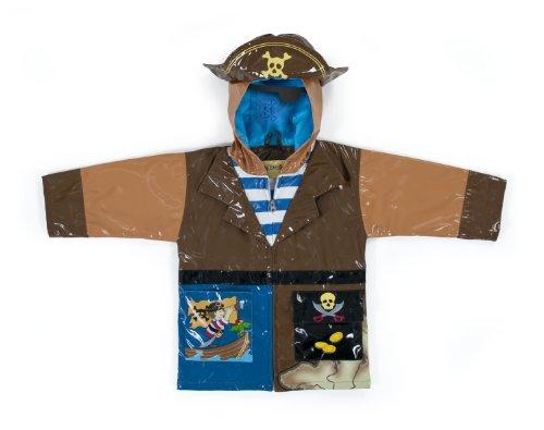 ebrandmarkt Kinder Alle Wetter Wasserfeste Regenjacke, Regenmantel Pirat Piratenschiff Für Jungen und Mädchen (Piraten Mantel Für Verkauf)