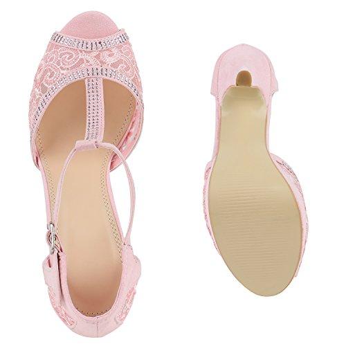 Damen Plateau Sandaletten | Strass High Heels | Metallic Sandalen Stiletto | Abendschuhe Spitze Rosa Spitze