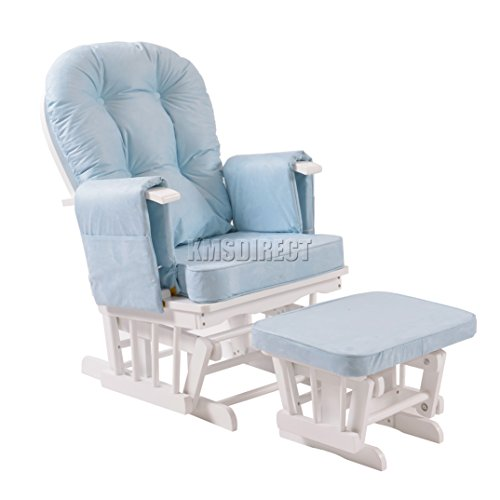 FoxHunter Nursing Glider Maternity Rocking Chair With Footstool White Wood  Frame Blue Cushion Cover