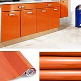 KINLO 5x0.61 M PVC Küchenschrank-Aufkleber Selbstklebend Küchenfolie Klebefolie Schrankfolie Deko Tapeten Rollen für Küchenschränke Möbel ,Orange