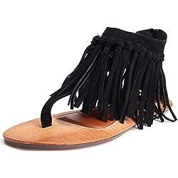 Odema Verano Correa de tobillo Borlas Mujer plana sandalias