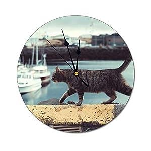 Mesllings Wanduhren mit Katzen-Motiv, rund, Glas, Wand-Dekoration, für Küche, Büro, Retro-Hänge-Uhr, Wohnaccessoires
