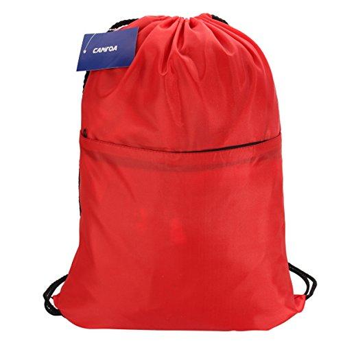 Drawstring Bag,CAMTOA Drawstring Backpack/Unisex Gym Bag/Swim Bag/Gymsac/Zippered Compartment Rucksack/PE Kit Bag Perfect for School,Sports,Beach,Books & Travel, Adults and Children 46x37cm Red
