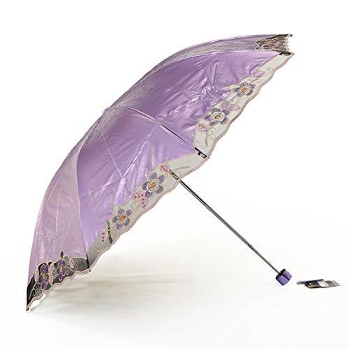 SBBCW Dreibettzimmer Stickerei Regen Oder Sonnenschein Dual-Use Kraftvoll Sonne Schatten Dame Regenschirm
