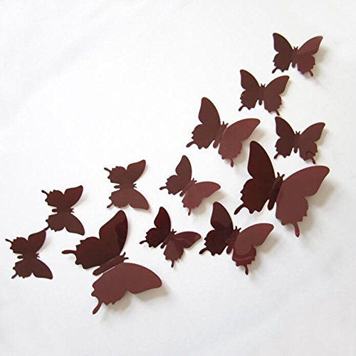 Anyutai 12 Stücke Wandaufkleber Schmetterling Wandaufkleber Dreidimensionale PVC Aufkleber Reflektierende Dekorative Für Wohnzimmer → -braun