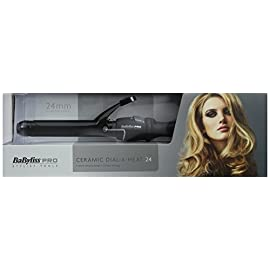 hair tongs - 41lHb2EzKaL - Babyliss Pro Ceramic Dial A Heat Hair Tongs with 25 Heat Settings Curler Wand (BLACK)