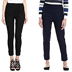 Broadstar Black & Navy Lam Lam Solid Palazzo Pant For Women- Pack Of 2