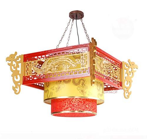 YAMEIJIA Lampen im chinesischen Stil antikes Holz Schäferhund Kronleuchter Hotel Restaurant Teahouse China Beleuchtung Kronleuchter Wind Drachen,B Antik China