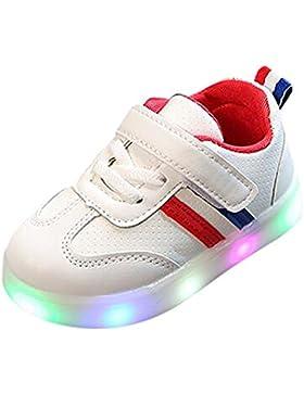 BUIMIN LED Zapatos A Rayas Unisex-Niños Brillar EN Noche De Velcro Fácil de Quitarse Nuevo Zapatillas con Suela...