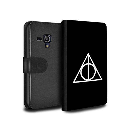Stuff4® PU-Leder Hülle/Case/Tasche/Cover für Samsung Galaxy S3 Mini/Schwarz Muster/Heiligtümer Todes Inspiriert Kollektion