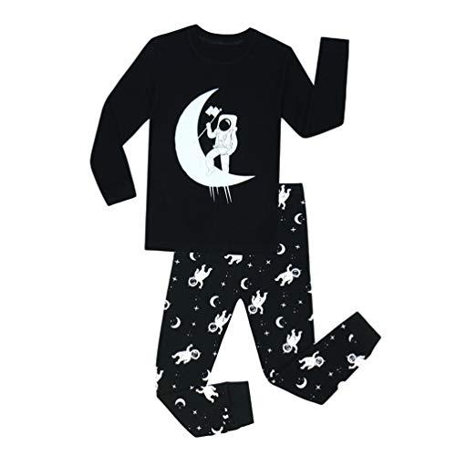 YuanDian Jungen Mädchen Weihnachten Schlafanzug 2 Stück Set Cartoon Drucken Nacht Beleuchten Nachtwäsche Langarm Kinder Weihnachtskostüm Pyjama Outfits 80-140 Schwarzer Astronaut 5 Jahre