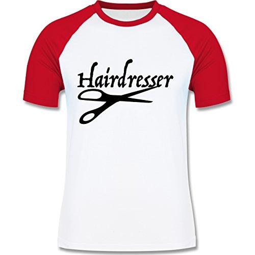 Handwerk - Friseur - zweifarbiges Baseballshirt für Männer Weiß/Rot
