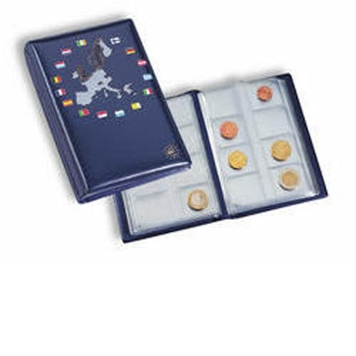 Leuchtturm 330102 coin Wallet with 12 coin sheets for 12 complete Euro coin sets, blue