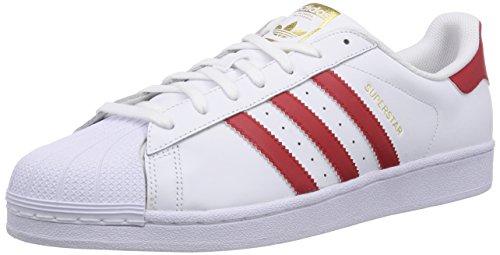 adidas Superstar Foundation, Herren Sneakers, Weiß (Ftwr White/Scarlet/Ftwr White), 45 1/3 EU