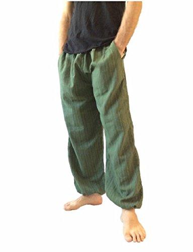 Love Quality Amor Calidad Baggy-Pantalones de Escalada para Hombre Talla única algodón harén Pantalones Hippie Boho Pantalones - Verde -