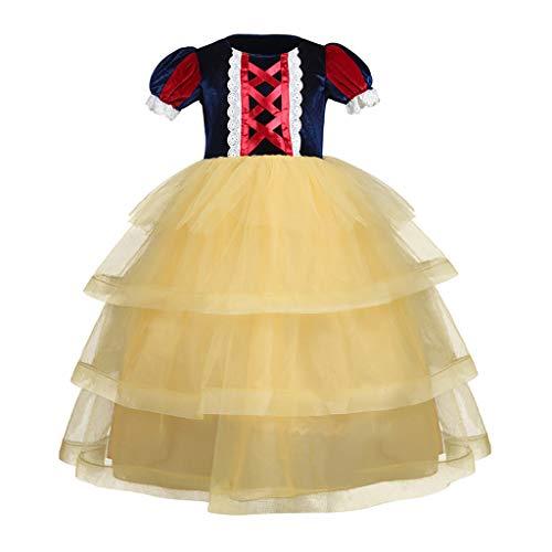 Fenverk MäDchen Einhorn Blume RüSchen Cosplay Party Hochzeit Prinzessin Kleid Belle KostüM Drop Shoulder Kleider Brosche DornröSchen Aurora KostüMe(B (Rosa Dornröschen Kostüm)