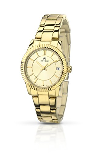 Accurist Women's Quartz Watch with Beige Dial Analogue Display and Gold Stainless Steel Gold Plated Bracelet 8012.01