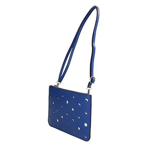 Chicca Borse Borsa a tracolla in pelle 25x17x2 100% Genuine Leather Blue