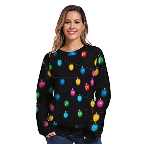 Alwayswin Frauen O-Neck Langarm Sweatshirt Weihnachten 3D Print Pullover Lose Größe Bluse Tops Langarmshirts Beiläufige Lustiges Muster T-Shirt Sweatshirts Tuniken Oberteile