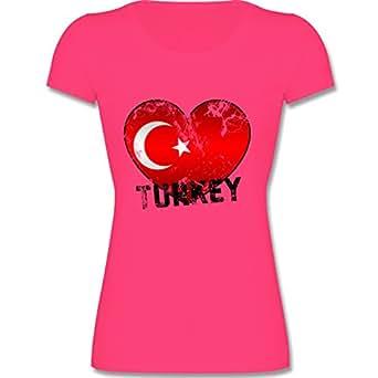 F288N – Leicht tailliertes Damen Frauen T Shirt Lady-Fit Valueweight T mit Rundhalsausschnitt, bewährte Qualität – EM 2016 – Frankreich – Turkey Herz Grunge