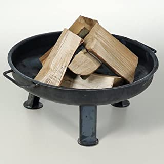 acerto Solid 80 cm Brazier + 5 kg beech firewood ✓ Dished Base ✓ Solid Steel ✓ Made in Germany | Large Outdoor Brazier | Round Metal Brazier for the Garden