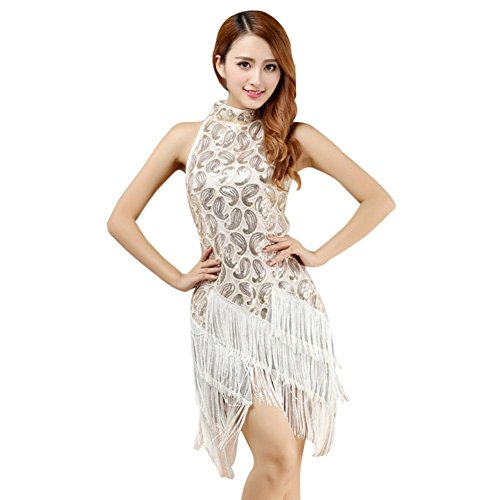 Brightup Dame Competition Dancewear Latin Quaste Sequins Kleid Samba Rumba Tango (Dance Kostüme Charleston)