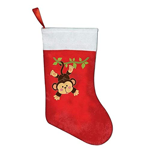 LoveBiuBiu Christmas Stockings Classic Cute Aniamle Monkey Hug Holiday Santa Claus Merry Christmas