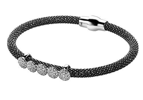 Orphelia Damen-Armband 925 Silber rhodiniert Leder Zirkonia weiß Brillantschliff 19 cm - ZA-6096