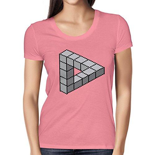 TEXLAB - Optical Illusion Triangle - Damen T-Shirt Pink