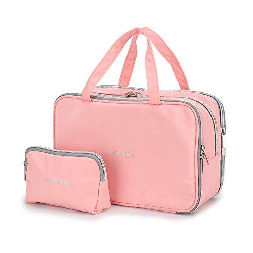 Reise-Kosmetiktasche Kulturbeutel mit kleinen Kosmetiktaschen für Frauen Mädchen Wasserdicht (Pink Make-up Tasche gesetzt) - Schmuck Organizer Beutel